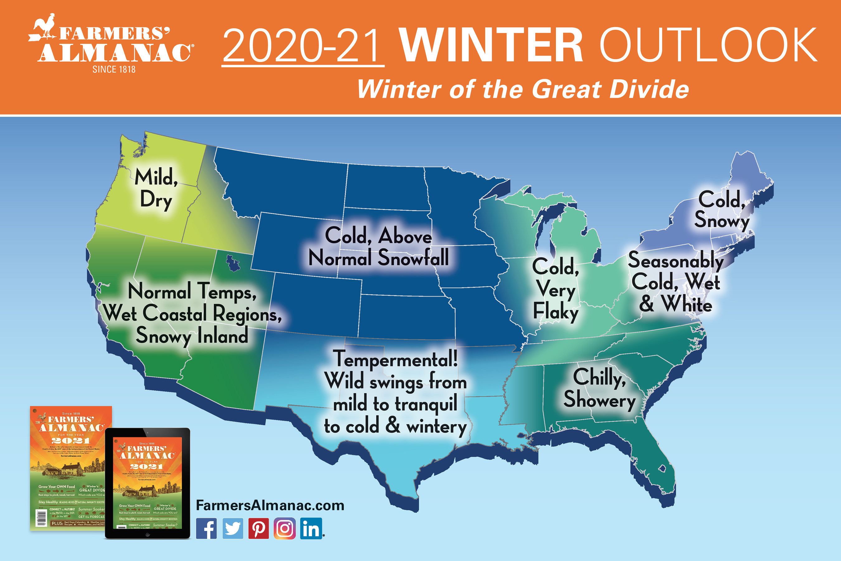Farmers' Almanac 2020-21 Winter Outlook infographic