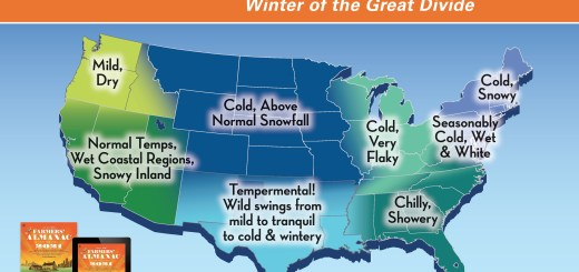 Farmers' Almanac 2020-21 Winter Outlook infographic