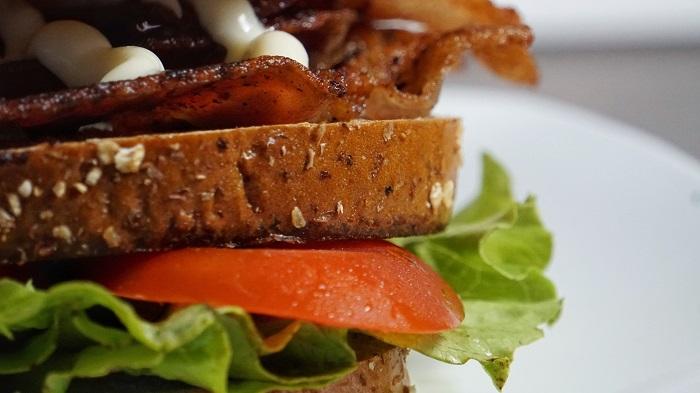 Closeup photo of a BLT sandwich