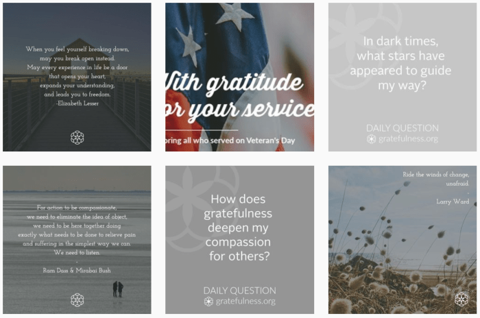 Gratitude Blogs We Love - @gratefulness_org on Instagram
