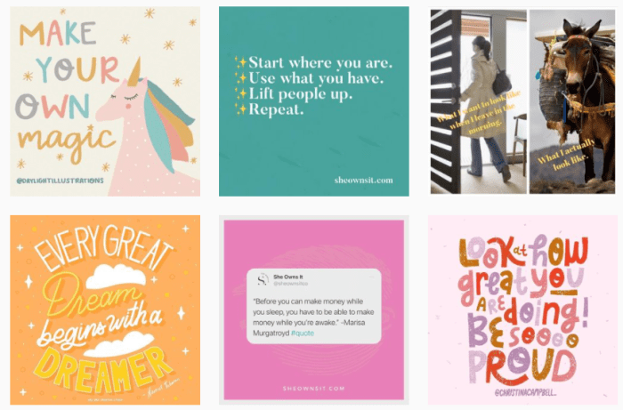 Women's Leadership Blogs: screenshot of @sheownsitco on Instagram