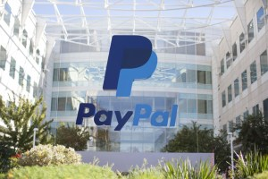 PayPal logo outside an office building