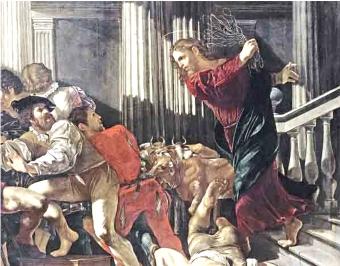 """Jesus expulsa os vendilhões do Templo """"Não transformeis a casa de meu Pai em um covil de ladrões"""""""