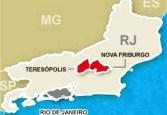 mapa da regiao serrana - Friburgo ao centro