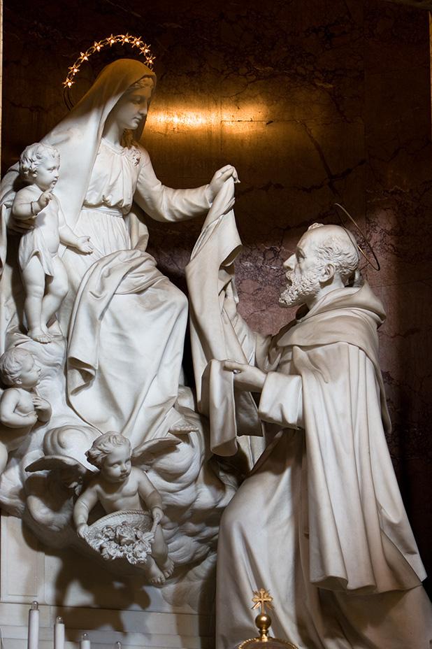 st simon stock receives the scapilar from mary - Santa Maria della Vittoria basilica - Roma Italy