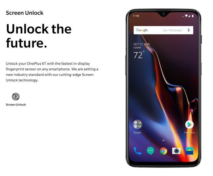 OnePlus 6T with in-display fingerprint scanner available in India from 1 Nov 1