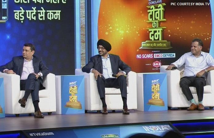 IMAGE - UDAY SHANKAR, N P SINGH AND RAJ NAYAK AT THE INDIA TV CONCLAVE MEDIABRIEF