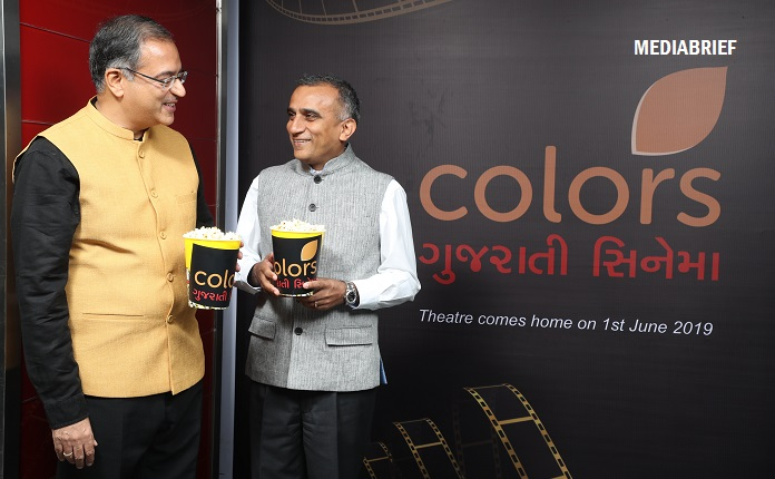 image-Ravish Kumar, Head - Regional TV Network, & Sudhanshu Vats, Group CEO & Managing Director, Viacom18 at the announcement of COLORS Gujarati Cinema-MediaBrief
