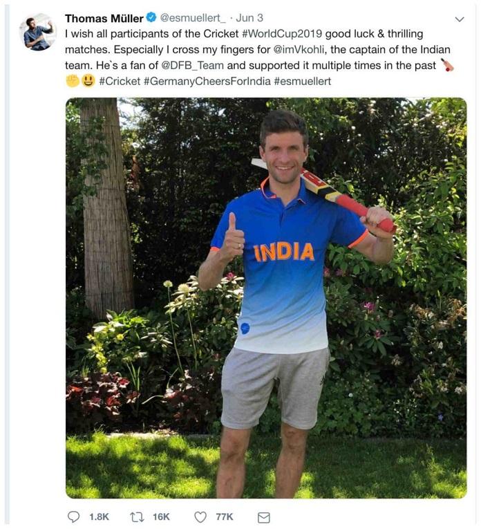 image-Thomas Mueller Tweet in Volkswagen-drives-in-German-cheers-for-Indian-Cricket-Team-MediaBrief