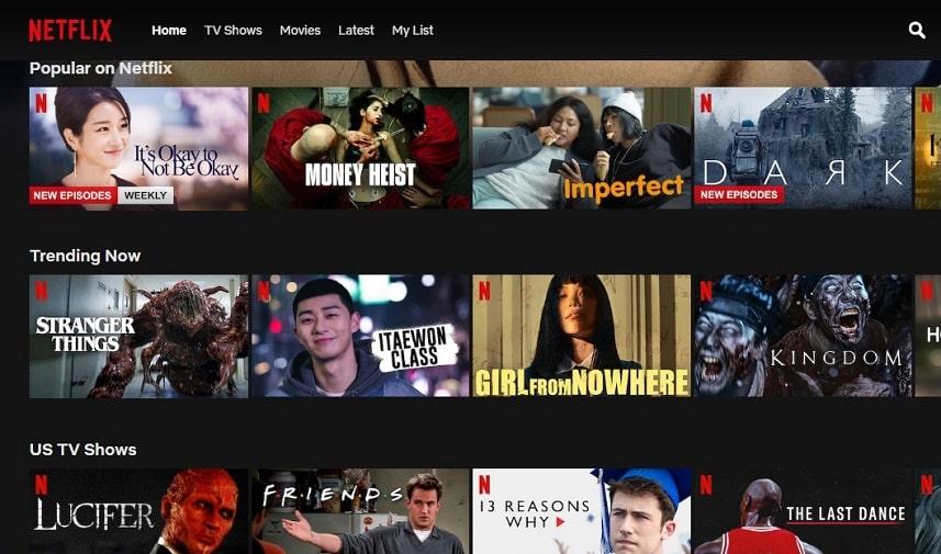 Tampilan layanan Netflix