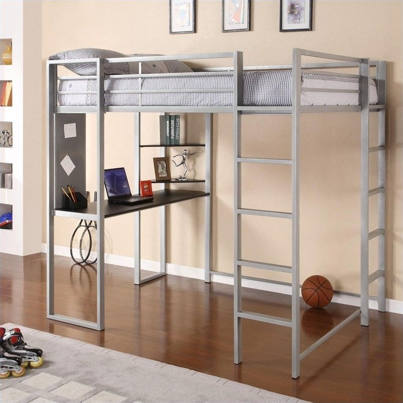 Metal Full Loft Bed In Silver With Desk 5457096