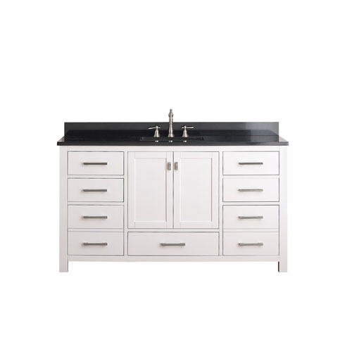 modero 60 inch white single vanity with black granite top and single sink