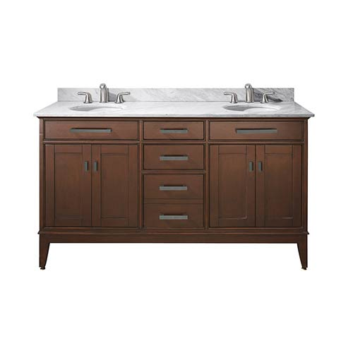 avanity madison tobacco 60 inch double sink vanity with carrera white marble top madison vs60 to c bellacor