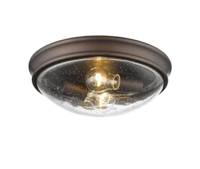 Millennium Lighting Rubbed Bronze Two Light Flush Mount With Clear Seeded Glass