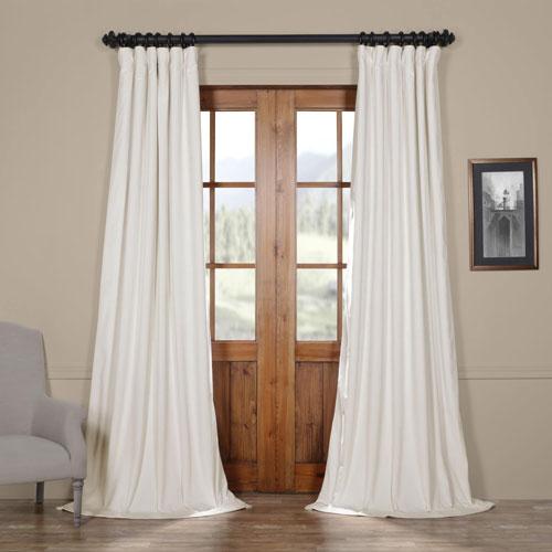 porcelain white blackout velvet pole pocket single panel curtain 50 x 84