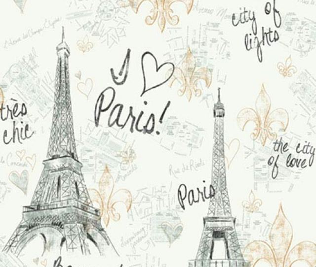 York Wallcoverings Girl Power White Background And Black And Gold 2 Paris Wallpaper Sample Swatch Only