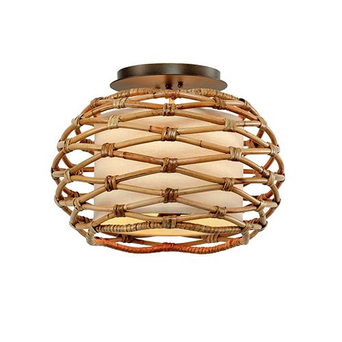 troy balboa bronze three light flush mount c6740 bellacor