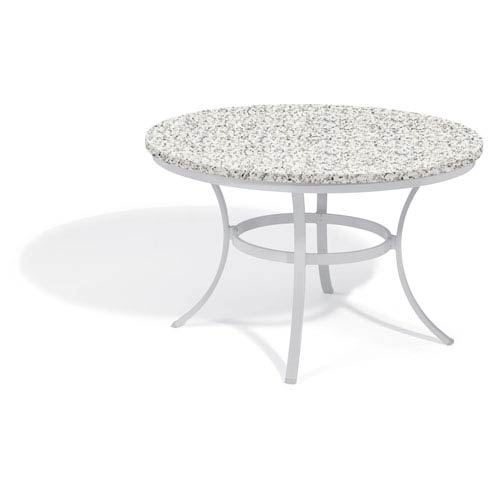 travira 48 inch round dining table powder coated aluminum frame lite core granite ash top