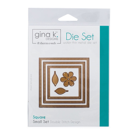 Gina K. Designs (3) Nested Square Dies • Double Stitch Design • Small Set picture
