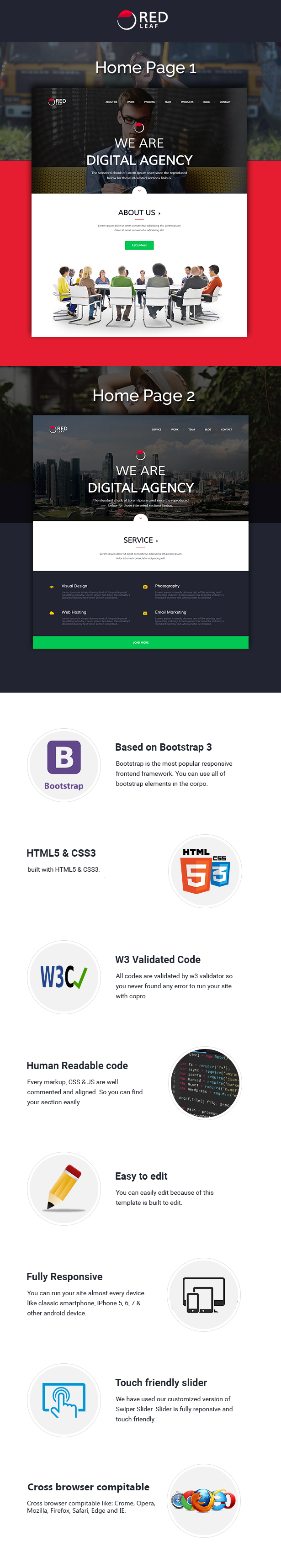 Portfolio HTML,HTML Features,Responsive Template, Red Leaf, Agency