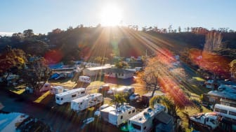 An RV resort on a sunny fall day