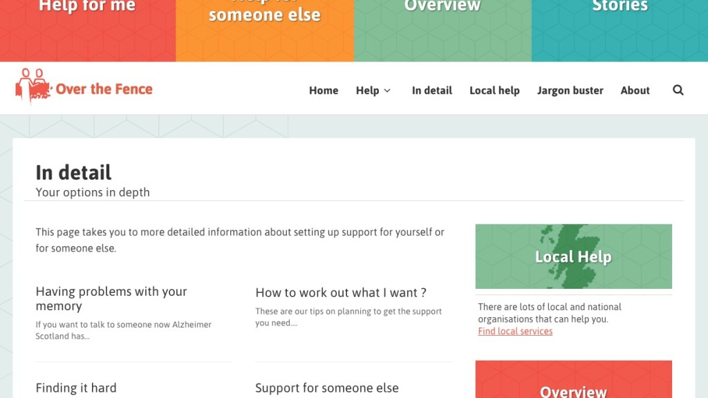 Screenshot of web page showing more detailed information about setting up support