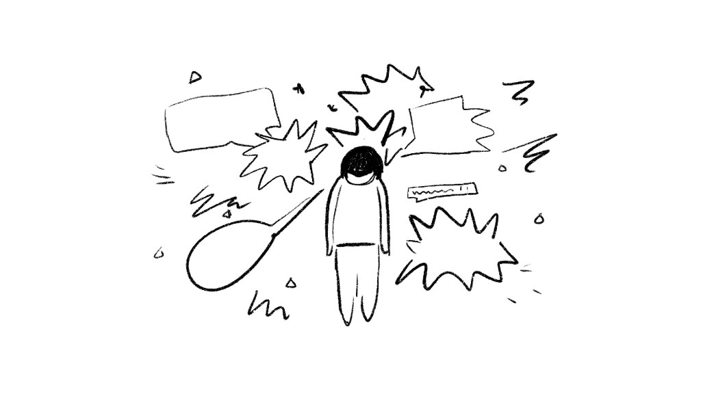 A storyboard frame. A sketch of a woman surrounded by threatening speech bubbles.