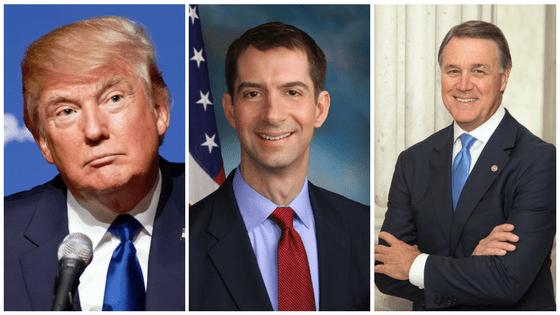 Trump joins GOP senators Cotton, Purdue to push ...