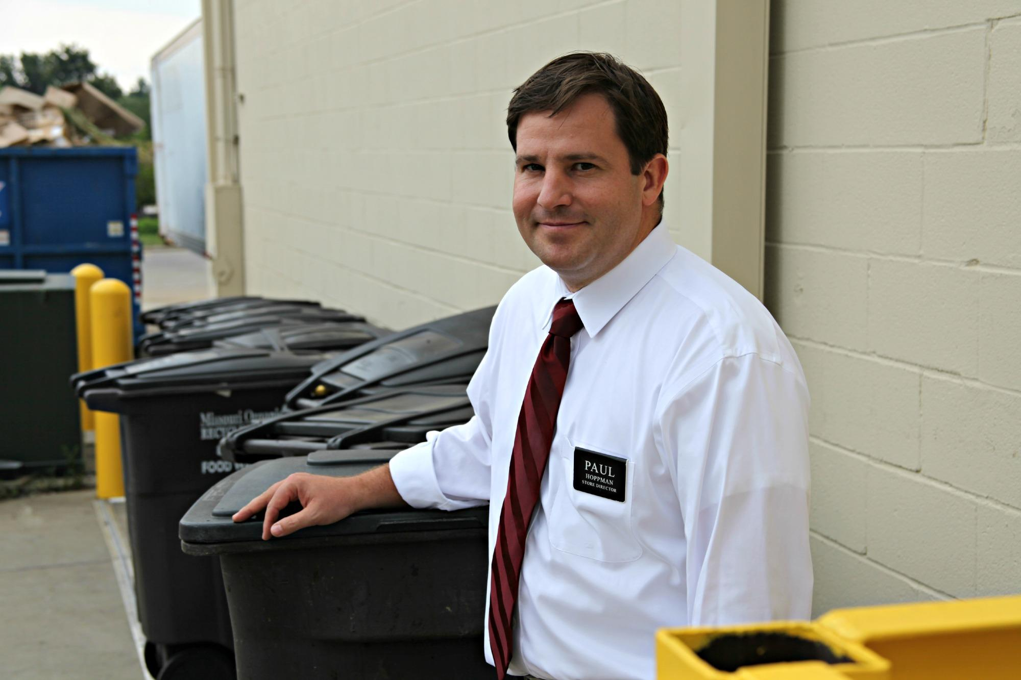 Paul Hoppman, director of a Hy-Vee grocery store in Independence, Mo., owns ten compost bins that get picked up three times a week. Composting has helped his store reduce the amount of food waste it was sending to the landfill.