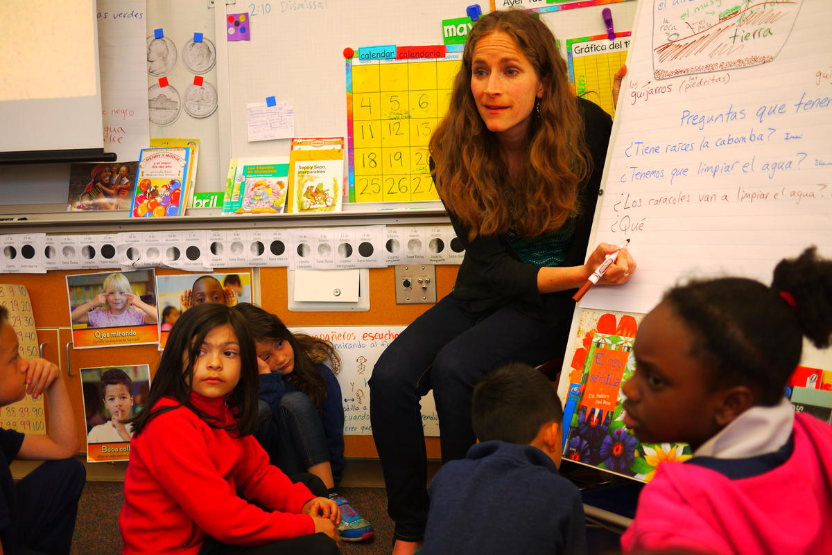 Corie Geballe teaches first graders in Spanish at White Center Heights Elementary in West Seattle.