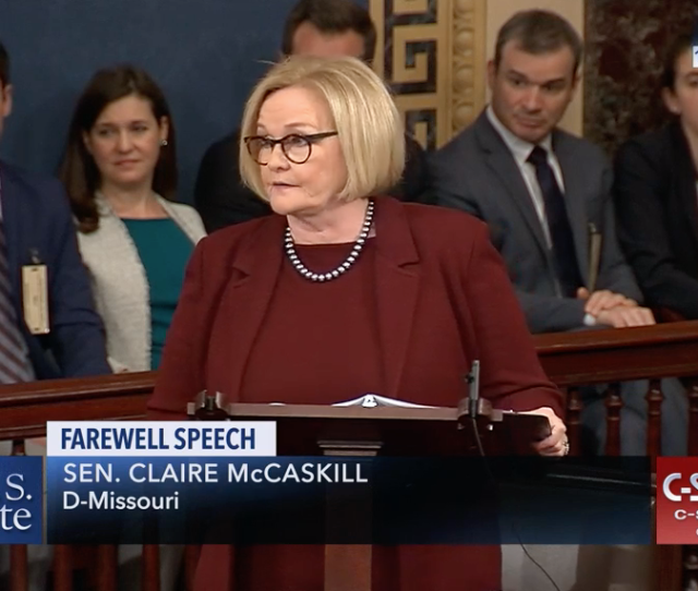 Democratic U S Sen Claire Mccaskill Gave A Defiant And Emotional Speech Thursday On The Senate Floor As She Said Goodbye To Politics