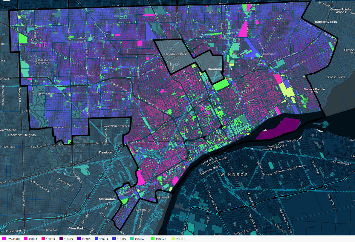 Look at this interactive map for insight into one of Detroit s     You can see how Detroit developed over time with this map  The pink parcels  are the oldest  the blue a little newer  and the green are the newest