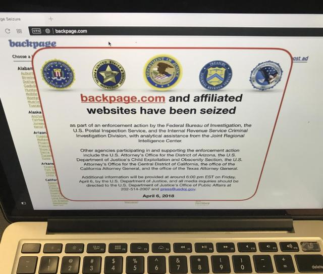 A Screenshot Of Backpage Com Says Federal Law Enforcement Authorities Seized The Website As Part Of An Enforcement Action By The Fbi And Other Agencies