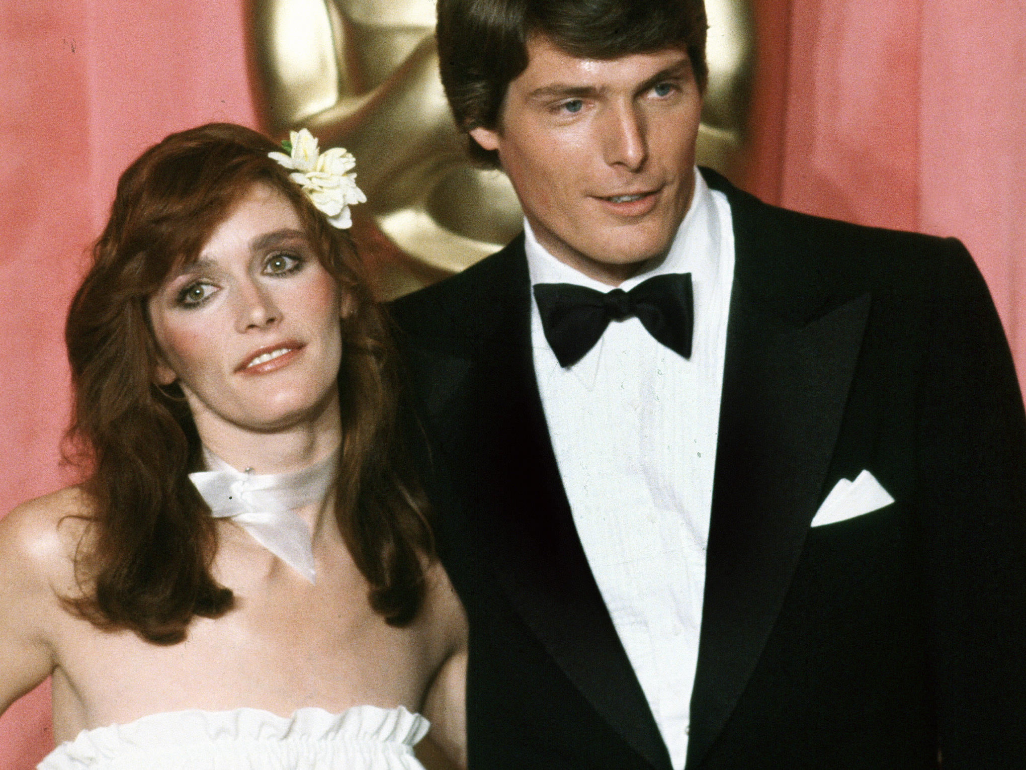 Actress Margot Kidder is seen here with her <em>Superman</em> co-star Christopher Reeve.