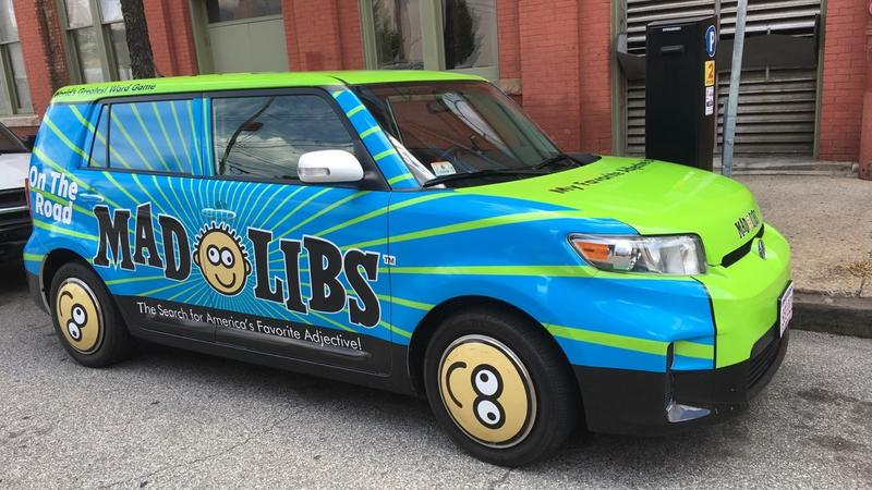 The Mad Libs car will be traveling around the country for the next six weeks. They began their journey in New York City.
