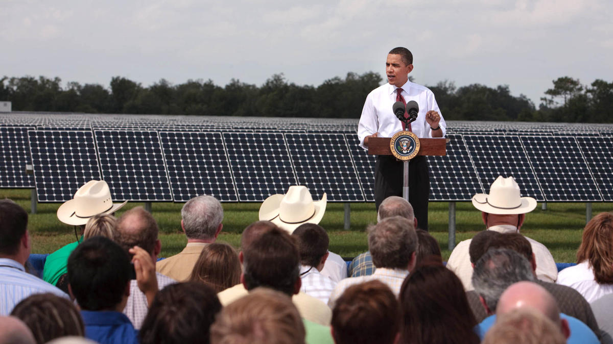President Obama announcing $3.4 billion in stimulus funds to modernize the electric grid on October 27, 2009