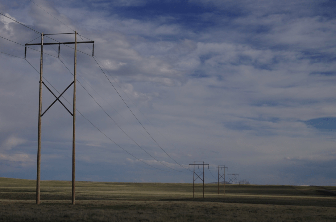 Power transmission lines march across the Shirley Basin in central Wyoming.