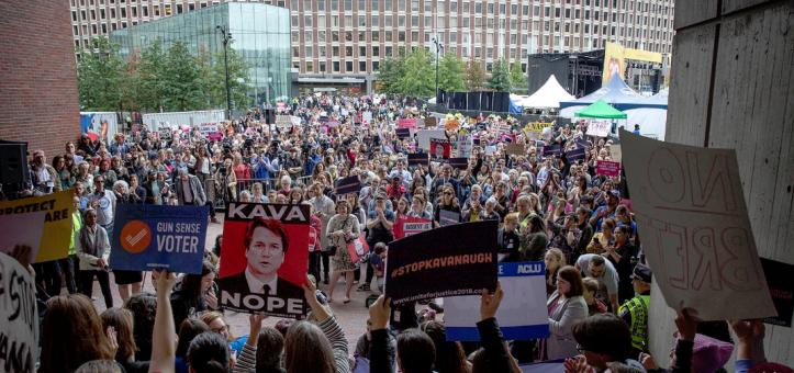 A protest against Brett Kavanaugh's Supreme Court nomination, Monday at Boston City Hall Plaza