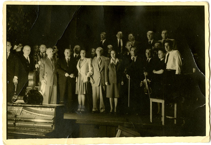 Leonard Bernstein (far right) pictured with members of the Ex-Concentration Camp Orchestra, May 10, 1948, Munich, Germany