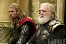 Anthony Hopkins as Odin and Chris Hemsworth as Thor in 'Thor: The Dark World'