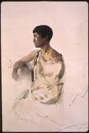 Maori political prisoner, Te Waretiti (Portrait: John Skinner Prout, 1846)
