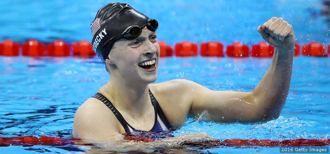 Katie Ledecky of the United States celebrates winning gold in the Women's 200m