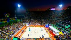 Volleyball is Brazil's second sport and the home crowd got fully behind their girls in Copacabana beach