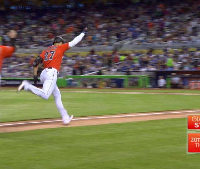 On The Day He Announced Hed Participate In The Derby Giancarlo Stanton Hit A Laser Beam Of A Hr