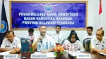 Kelapa BNNP Sultra, Bambang Priyambadha (pegang mic) bersama jajarannya.
