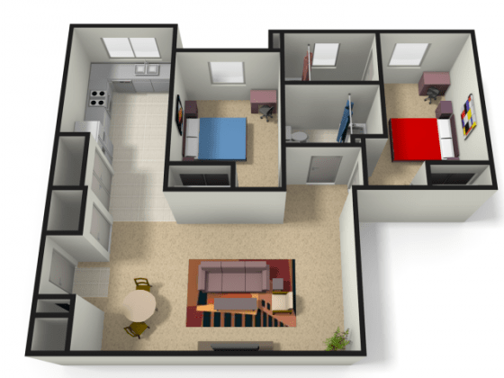 WVU Apartments For Students   The Lofts 2 Bedroom Floor Plan   WVU Off Campus Housing   The Lofts