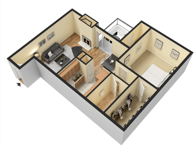 1x1 700 Square Feet 1 Bed Apartment