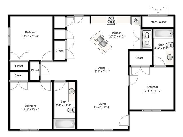 All Floor Plans3 Bedroom Apartment