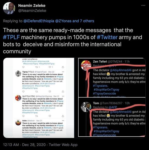 Figure 13: Tweet by Neamin Zeleke alleging the use of bots by pro-TPLF organizers to mislead the public. Source: https://twitter.com/NeaminZeleke/status/1343424717185822720