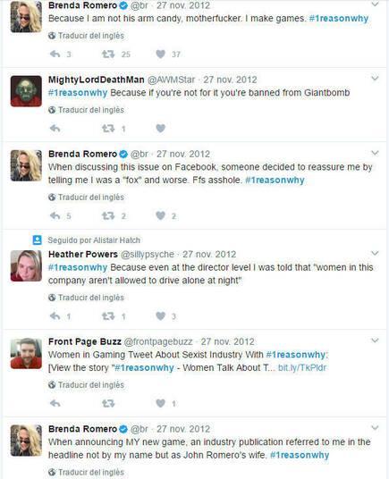 Brenda Romero se implicó  en el hashtag #1reasonwhy, contó sin pelos en la lengua que no se sentía cómoda en el E3 aunque llevara 30 años haciendo juegos y relató distintas experiencias sexistas que había tenido.